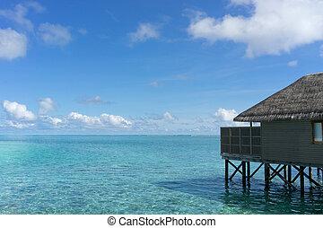 isola tropicale, maldive, acqua, ville