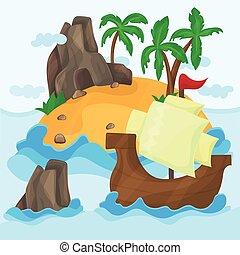 isola tropicale, nave, palme, oceano