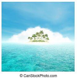 isola tropicale, palme, oceano