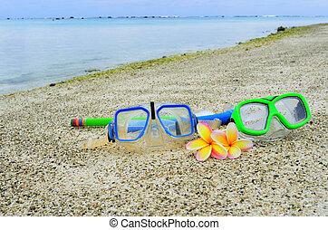 isola, tropicale, snorkels, vacanza, maschera