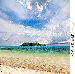 isola tropicale, spiaggia, sabbioso