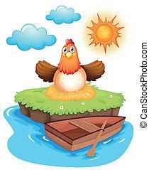 isola, uova, pollo, ombreggiatura