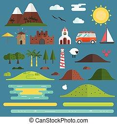 isola, viaggiare, set, paesaggio, creatore