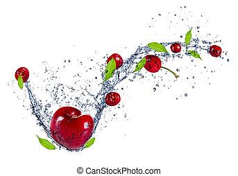 isolado, água, cerejas, respingo, fundo, branca