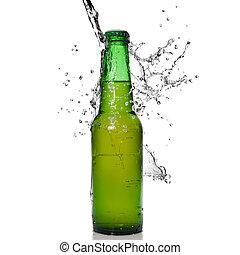 isolado, água, cerveja, respingo, verde, garrafa, branca
