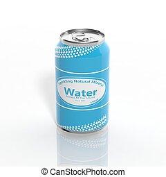 isolado, água cintilante, lata, branca, 3d