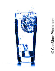 isolado, água, vidro, respingo, fundo, branca