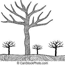 isolado, árvores, vetorial, pretas, fundo, branca