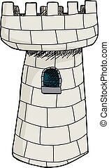 isolado, único, castelo, torre