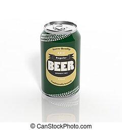 isolado, 3d, cerveja, branca, lata