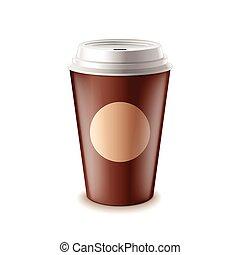 isolado, afastado, vetorial, café, tomar