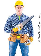 isolado, algum, jovem, carpinteiro, fundo, branca, ferramentas