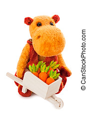 isolado, amarela, hipopótamo, brinquedo, com, a, carreta, cheio, de, cenoura