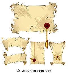 isolado, antiga, pergaminho, scroll, bandeiras
