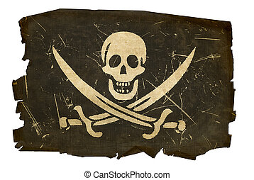 isolado, antigas, bandeira, fundo, branca, pirata