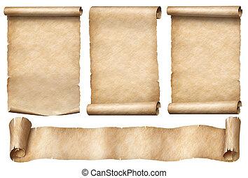 isolado, antigas, papel, fita, jogo, scrolls, bandeira