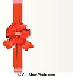isolado, arco, branco vermelho, fita cetim