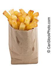 isolado, batatas fritas