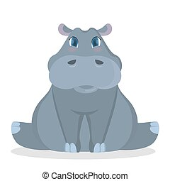 isolado, bebê, hippo.
