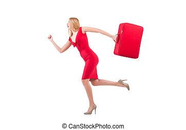 isolado, blondie, mala, vestido branco, vermelho