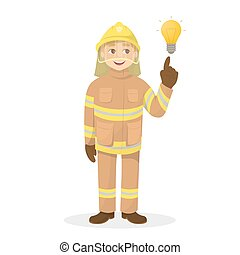 isolado, bombeiro, com, idea.