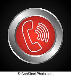 isolado, botão, telefone, Serviço, ícone