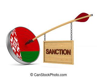 isolado, branca, 3d, experiência., ilustração, sanção, belarus