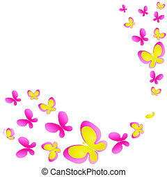 isolado, branca, aquarela, cor-de-rosa, borboletas