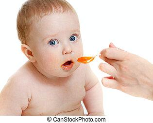 isolado, branca, menino bebê, alimentação