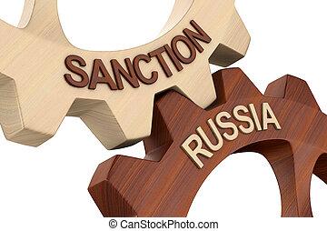 isolado, branca, russo, 3d, experiência., ilustração, sanção