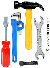 isolado, brinquedo, ferramentas
