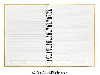 isolado, caderno espiral, em branco, branca, abertos