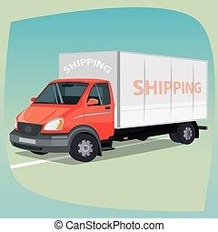 isolado, caixa, caminhão, com, fechado, corporal