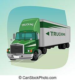 isolado, caminhão, com, caixa, semi-reboque