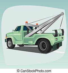 isolado, caminhão reboque, com, guindaste