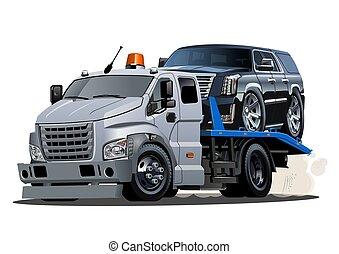 isolado, caminhão reboque, fundo, branca, caricatura