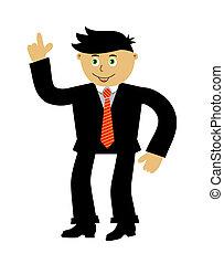 isolado, caricatura, businessman., vetorial, ilustração, branco, fundo