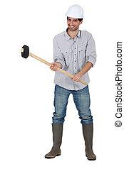 isolado, carpinteiro, jovem, segurando, branca, martelo, bonito