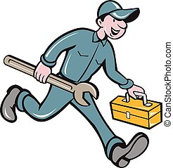 isolado, carregar, mecânico, spanner, toolbox, caricatura