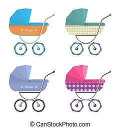 isolado, carrinho criança, fundo, ilustrado, bebê, branca,  pram, caricatura