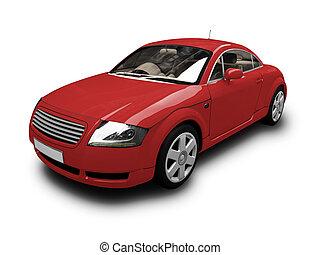 isolado, carro vermelho, vista dianteira