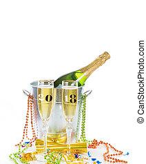 isolado, celebração, 2018, fundo, ano, novo, branca, champanhe, feliz