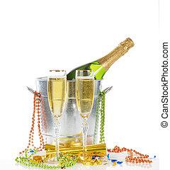 isolado, celebração, dois, fundo, ano, novo, branca, champanhe, feliz