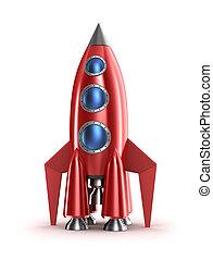 isolado, conceito,  retro, foguete, vermelho