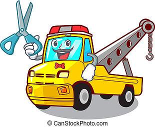 isolado, corda reboque, barbeiro, caminhão, caricatura