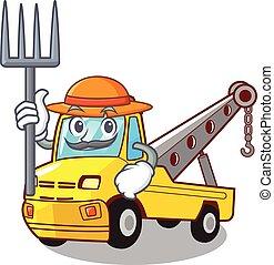 isolado, corda reboque, caminhão, agricultor, caricatura