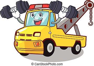 isolado, corda reboque, caminhão, condicão física, caricatura