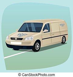 isolado, correio, caminhão, com, pacotes