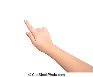 isolado, criança, mão, tocar, ou, apontar, algo