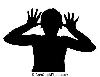 isolado, criança menino, gesto, teaser